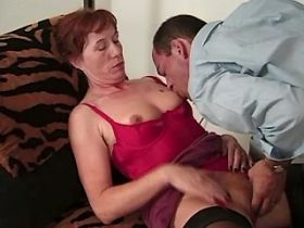 Elder mature does hot blowjob and jumps on big cock