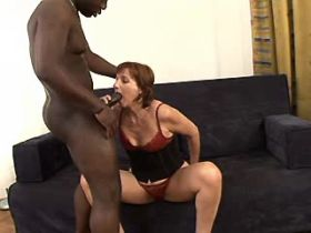 Old mature sucks big black cock and has hard fuck