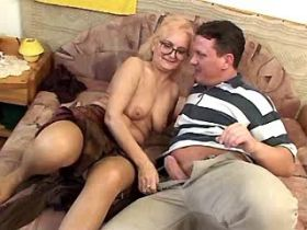 Granny sucks big cock and has hot fuck from behind