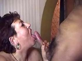 Fat mature woman takes cock of young man in all holes