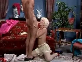 Two men fucking and jizzing on sexy blonde milf