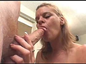 Milf gets anal and oral sex with guys and gets facial