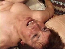 Aged mature has sex on sofa and licks fingers in cum