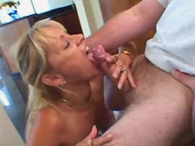 Blonde mature has fuck and licks out cum from cock