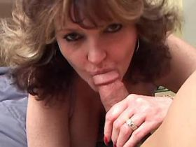Chubby mature gets facial after fuck in all holes