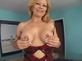 Blonde hot mature sucking dick and getting titsfuck