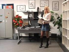 Blonde mature sucking and jumping on cock in office