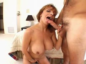 Busty mature fucks in all holes and gets cum on tits