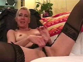 Aged blonde mature sucks dick and fucks from behind