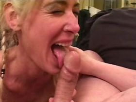 Blonde mature fucks in all holes and gets creampie