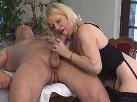 Mature fucks in dining room and gets cum in mouth