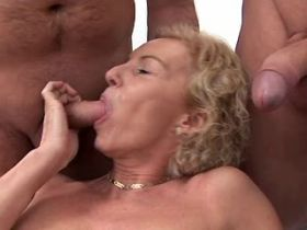 Mature fucks in all holes in orgy and gets facial