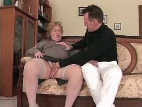 Aged chubby mature does hot blowjob and sucks nuts