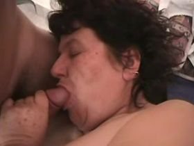Aged chubby mature does blowjob and gets cumshot