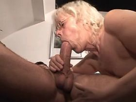 Granny fucks in diff poses and gets cumshot on tits