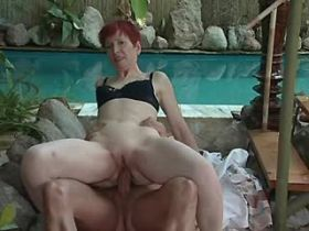 Lewd mature has anal sex near pool and gets facial