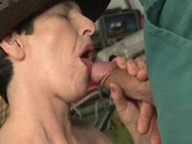 Aged mature has anal sex from behind and gets facial