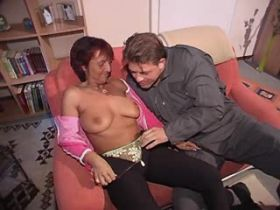 Depraved mature sucks cock and has hard fuck on sofa